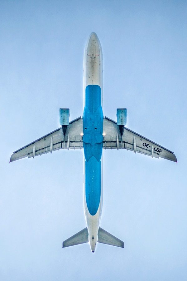airplane flying on top
