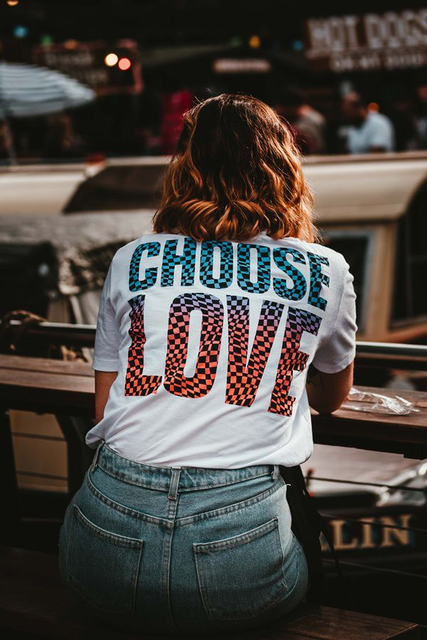 Asian girl wearing choose love t shirt back